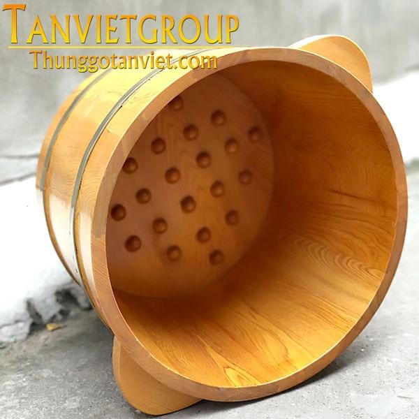 chậu gỗ ngâm chân pomu có hạt massage